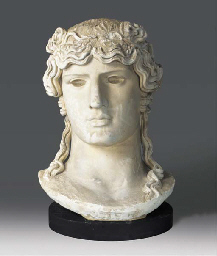 A PLASTER BUST OF THE ANTINOUS