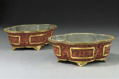 A PAIR OF CHINESE BRASS-MOUNTE