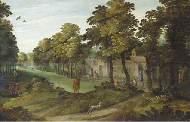 A village landscape with an av
