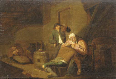 Peasants in a cottage interior