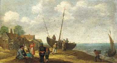 A coastal landscape with fish