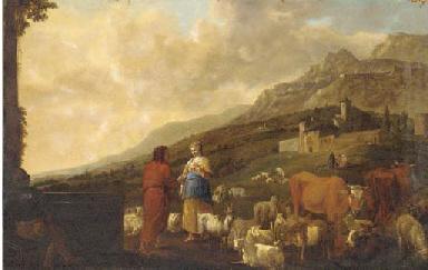 A shepherd and shepherdess wit