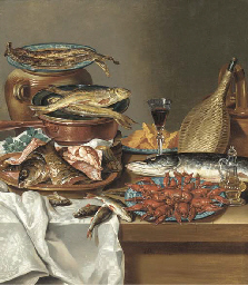 A plate of herring on an urn,