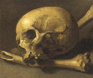 A momento mori of a skull and