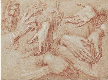 Eight studies of hands, one ho