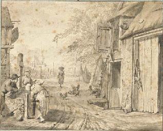 A village street with three pe