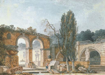 The courtyard of a ruined clas