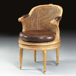 A LOUIS XVI GILTWOOD AND CANED