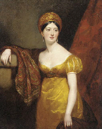 Portrait of Henrietta Shuckburgh, three-quarter length, in empire style dress and a turban, with a paisley shawl draped over her right shoulder, standing by a column