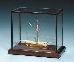 A Miniature Dieppe Model of a Gaff Rigged Cutter