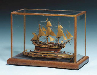 A Miniature Napoleonic Prisoner of War Boxwood Model of a First Rate Ship...