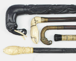 A Victorian ivory mounted walking stick, late 19th century