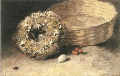 Still-life with basket, nest,