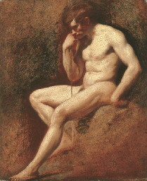 Male nude, seated, leaning on
