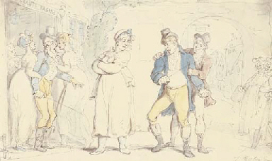 Two young gentlemen quarreling