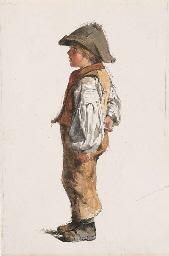Portrait of a boy in a brown h