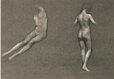 Study of two nude female figur