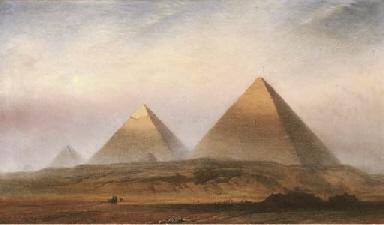 The Pyramids of Gizeh at Sunri