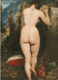Female nude from behind leanin