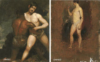 The Wrestlers (recto); and a s