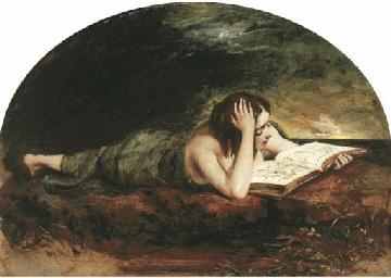 Reclining girl reading a book,