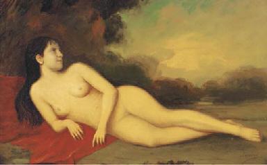 A reclining female nude in a l