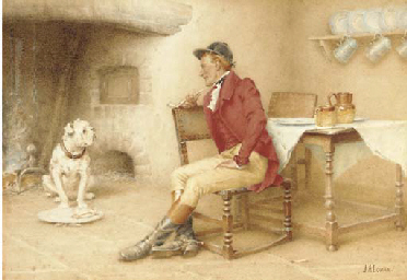A huntsmen feeding his dog