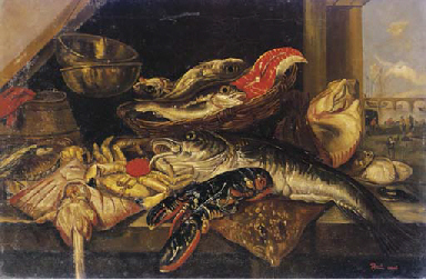 Assorted fish, a crab and a lo