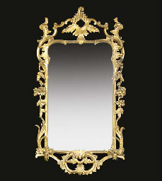 A carved giltwood wall mirror,