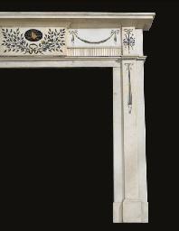 A scagliola inlaid white statu