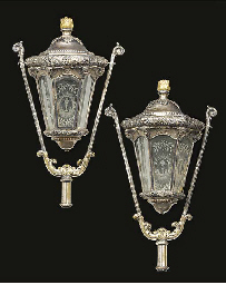 A pair of Venetian silvered co