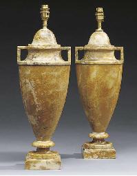A pair of Italian alabaster ta