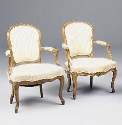 Two similar Louis XV beechwood