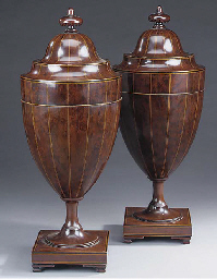 Pair of Edwardian mahogany cut