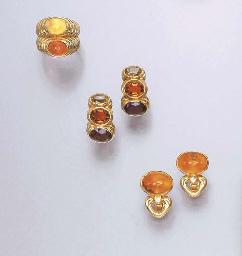 A GROUP OF CITRINE JEWELLERY,