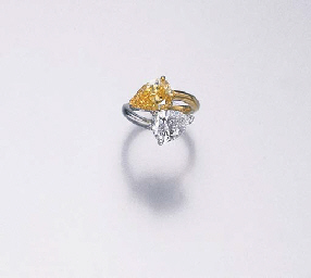 A TWO-STONE DIAMOND AND FANCY