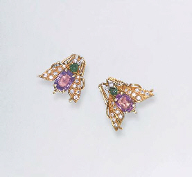 A PAIR OF GEM-SET INSECT EAR C