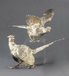 A Pair of Modern Silver Pheasa