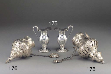 Two Continental Silver Censors