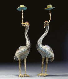 A PAIR OF CHINESE CLOISONNE AN