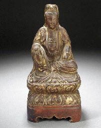 A CHINESE GILT WOOD CARVING OF