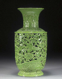 A CHINESE GREEN GLAZED RETICUL