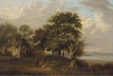 Figures before a cottage in a