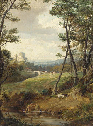 A bather in a wooded landscape