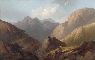 Figures in a Highland landscap