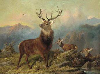A stag and hinds in a landscap