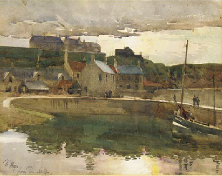Boats in a harbour, thought to