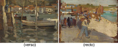 The harbour, recto; and Figure