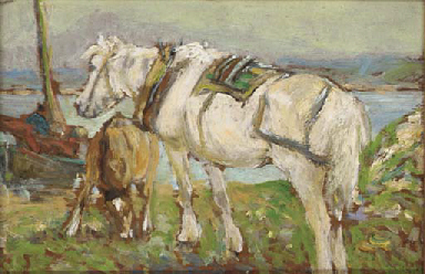 Ponies on the banks of a loch