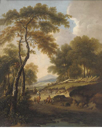 Figures on a path in a wooded